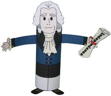 Manualidad con rollo de papel Thomas Jefferson